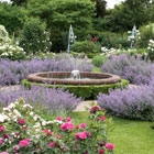 Picture of a fountain in a colourful garden with lots of bright coloured flowers