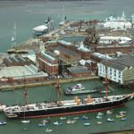 Aerial shot of Portsmouth Historic Dockyard