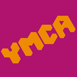 YMCA logo on pink background