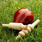 Cricket ball and wicket.