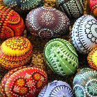 Lots of colourful, decorative eggs.