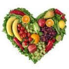 Fruit and veg arranged in a heart shape