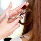 Close up of brown hair being cut with scissors