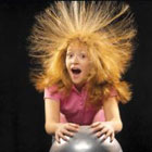 Picture of girl using static electricity ball.
