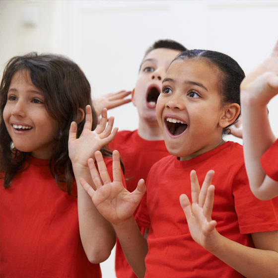 Children in drama class