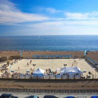 Aerial view of yellowave volleyball court